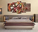 QMCVCDD 5 Piezas De Pared Fotos Cuadros En Lienzo Restaurante Pizzería HD Imprimir Modern Artwork Decoración De Arte De Pared Living Room 5 Piezas Artística Cuadros