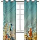 Cortina de ventana opaca, aislamiento térmico, decoración del hogar, acuario, paisaje del océano tropical, 2 paneles de 100 x 153 cm, cortinas opacas con ojales para dormitorio de niñas
