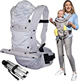 Mamapod All-Position Baby and Toddler Carrier with Hip Seat and Support Pole, Gray