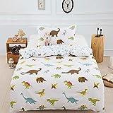 WONGS BEDDING Bettwäsche 135x200cm Kinder Bettwäsche Dinosaurier Bettbezug Microfaser Jungen Mädchen Bettwäsche Set Bettbezug mit 50x75 cm Kissenbezug Einzelbett mit Reißverschluss