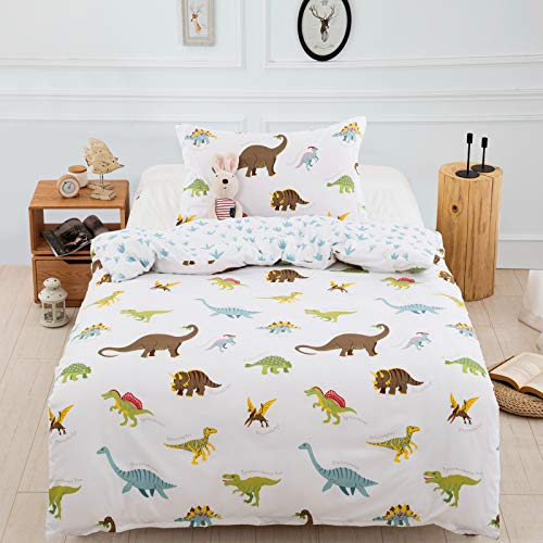 Dinosaurs Bedding Set fit to Junior Toddler Cot Bed Duvet Cover with Pillow Case for Girls Boys(2 Pcs, 120x150cm)
