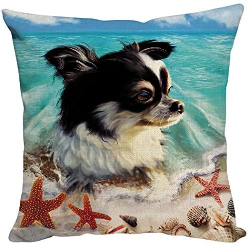 Zomer Funda de cojín de 40 x 40 cm, decorativa, de algodón, lino, para sofá, coche, terraza, perro y estrella de mar