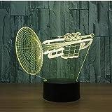 Instrumento Trompeta 3D Led Luz De Noche 7 Cambio De Color Lámpara De Mesa De...