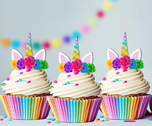 Unicorn Rainbow Horn Edible Cupcake Cake Toppers x15 birthday baby shower, 1st birthday, girls