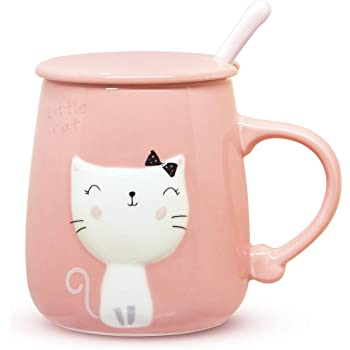 Angelice Home Pink Cat Mug 13 Oz, Cute Kitty Coffee Mug Cup with Lid and Ceramic Spoon for Cat Lovers