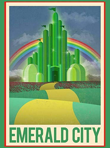 Chawuux Wall Poster 8 X 12 Inch The Wizard of Oz Emerald City Travel Advertisement Vintage Wall Art Print Home House Decor Decor House Home Metal Poster Aluminum Signs 8X12 Inch