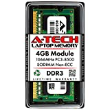 A-Tech 4GB DDR3 1066MHz PC3-8500 Laptop RAM SODIMM Module | Non-ECC Unbuffered 204-Pin Memory Upgrade Stick