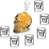 amzdeal Totenkopf Schnapsgläser Set, Whiskyglas 350 ml und 6 Schädelförmige Weingläser 75ml,...