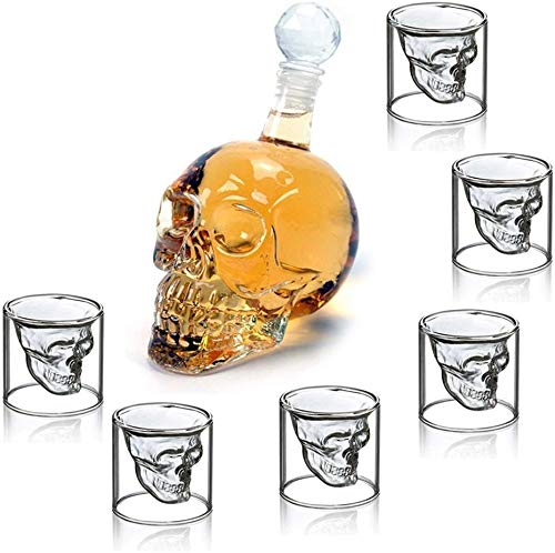 amzdeal Totenkopf Schnapsgläser Set, Whiskyglas 350 ml und 6 Schädelförmige Weingläser 75ml, Doppelschicht-Transparentes Schädelglas, Weinflasche bei Halloween, Weihnachten, Party und Geschenk