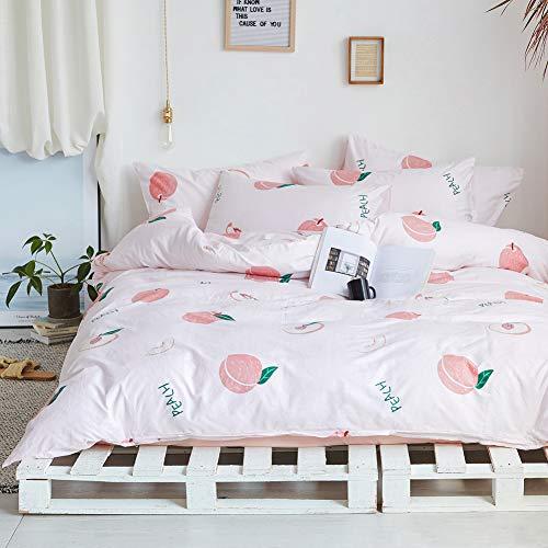BlueBlue Peach Kids Duvet Cover Set Queen 100% Cotton Bedding for Boys Girls Teens Cartoon Tropical...