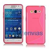 MELOENVIAS Funda para Samsung Galaxy Grand Prime G530H Gel TPU Diseño S-Line Color Rosa