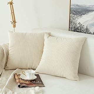 MIULEE Pack de 2, Pana Suave Juego de Mesa de Manta de decoración Cuadrado Fundas de Almohada Funda de cojín para sofá Dormitorio Car18 X 18 (45 x 45 cm)