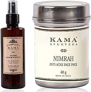 Kama Ayurveda Pure Rose Water Face and Body Mist, 6.7 Fl Oz & Kama Ayurveda Nimrah Anti Acne Face Pack