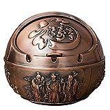 Cenicero, cenicero abatible hecho de bola de metal, cenicero retro a prueba de viento, cenicero clásico con patrón y tapa chinos, decoración de oficina en casa