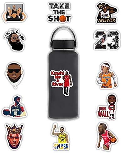 50Pcs Basketball Star Stickers NBA Sticker Small Decal for Water Bottle Hydroflask Skateboard Bike Computer Car Waterproof Stickers for Kids Boy Teens