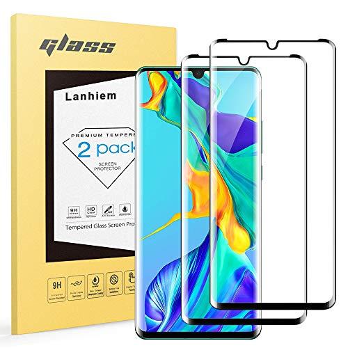 Lanhiem Verre Trempé Huawei P30 Pro, [Lot de 2] [Couverture Complète] [Garantie à Vie] Film Protection écran pour Huawei P30 Pro, Ultra Résistant Dureté 9H, Compatible avec Les Coques, Noir