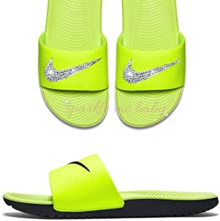 7ca4bf0c875498 Nike Slide Kawa Women s Yellow ~ Swarovski Bedazzled Shoes Bling Nike  Customized for you by Sparkle