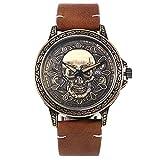 YUN Reloj de Hombre Correa de Cuero Impermeable Analogico Cuarzo Reloj Regalo Hombre (Color : Brass)