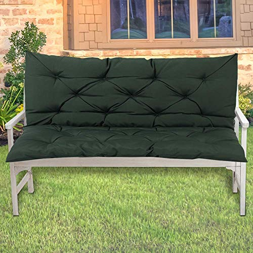 LINGRUI - Cuscino impermeabile per panca da giardino da esterno, per sedie a sdraio a 2 posti, 100 x 50 x 10 cm, morbido tappetino per panca lunga, antiscivolo, colore: verde scuro