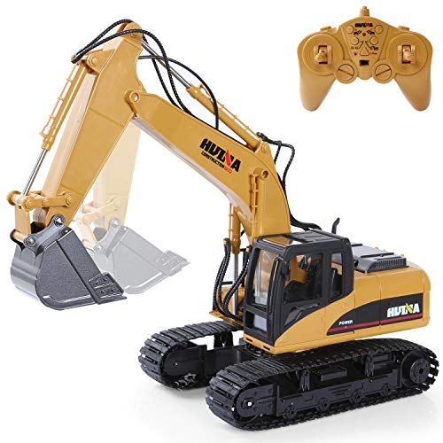 RC Excavator Construction Tractor, 15 Channel 2.4G Construction Vehicle Digger Electronics Hobby Toys with Sound and Lights for Kids Boys Child