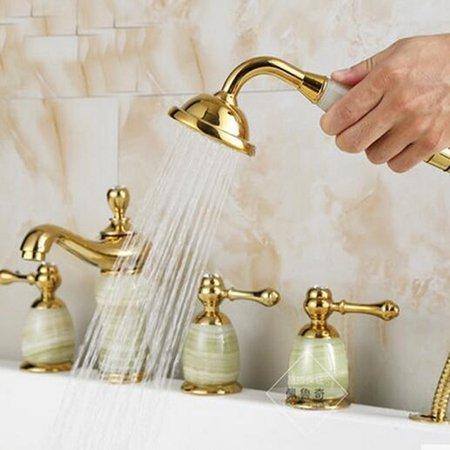 CLJ-LJ Grifo y venta al por menor de oro cubierta montada cuerpo jade baño bañera grifo cascada fregadero mezclador W/ducha de mano, amarillo