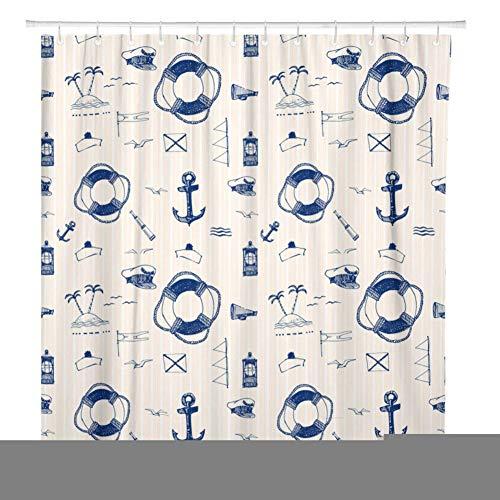 Eotifys Shower curtain Blue Anchor Marine Pen Pattern Breeze Shower Curtain Waterproof Polyester Fabric