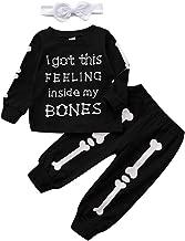 مجموعة ملابس للأولاد والبنات الصغار، مجموعة ملابس للأطفال الصغار بأكمام طويلة مطبوع عليها حروف + سروال