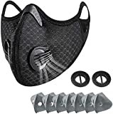BLScode Sport Mask with Exhalation Valves, Carbon Reusable with 7 Filters and 2 Valves Personal Protective Adjustable Nylon Dust Sport Mask for Men and Women