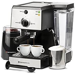 EspressoWorks 7 Pc All-In-One Espresso Machine & Cappuccino Maker Barista Bundle Set w/ Built-In Steamer & Frother (Inc: Coffee Bean Grinder, Milk Frothing Cup, Spoon/Tamper & 2 Cups), Stainless Steel (Silver)