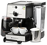 EspressoWorks 7 Pc All-In-One Espresso Machine & Cappuccino Maker Barista Bundle Set w/Built-In Steamer & Frother (Inc: Coffee Bean Grinder, Milk Frothing Cup, Spoon/Tamper & 2 Cups), Stainless Steel