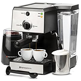 7 Pc All-In-One Espresso Machine & Cappuccino Maker Barista Bundle Set w/ Built-In Steamer & Frother (Inc: Coffee Bean… 18 ✅ ESPRESSO and CAPPUCCINO IN 45 SECONDS- The advanced thermoblock heating system allows you to create Espresso, Cappuccino and Latte in seconds! ✅ ESPRESSO MACHINE and LATTE MAKER 15 BAR PUMP PRESSURE SYSTEM- Enjoy great tasting Italian Espresso, Americano and Macchiato! ✅ SINGLE ESPRESSO SHOT OR DOUBLE ESPRESSO SHOT- Two stainless steel portafilter baskets included for the option of pulling a single shot or a double shot during each extraction.
