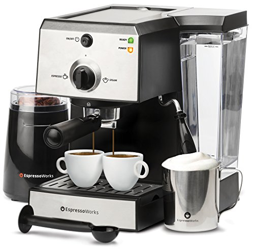 Image of EspressoWorks 7 Pc All-In-One Espresso Machine & Cappuccino Maker Barista Bundle Set w/ Built-In Steamer & Frother (Inc: Coffee Bean Grinder, Milk Frothing Cup, Spoon/Tamper & 2 Cups), Stainless Steel (Silver): Bestviewsreviews