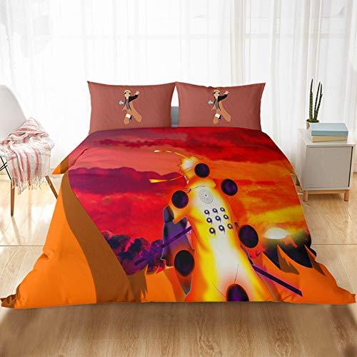 2/3 piezas, diseño de Naruto funda nórdica y funda de almohada, 100% microfibra, con cremallera, juego de ropa de cama infantil, regalo, decoración del hogar (A,200 x 200 cm)