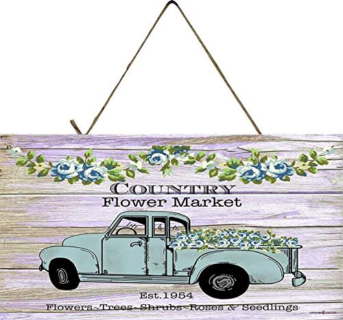 Andreaoy Metal Vintage Truck Sign (Country Flower Market Truck) Truck decoration vintage wall decoration 6 x 12 inches