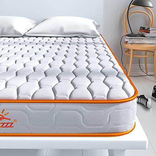 Maxzzz Single Mattress, Bonnell Coil 3FT Mattress in a Box, Innerspring Mattress with High-Density Foam & 3D Breathable Knitting Fabric, Medium Firm, 90X190X14cm