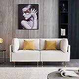 DADEA Sofa 2 Sitzer, Hoher Komfort Relaxsessel mit Armlehne, Goldene Metallbeine, Holzgestell, einfacher Aufbau, modernes Design Fabric Sofa, Beige 188cm