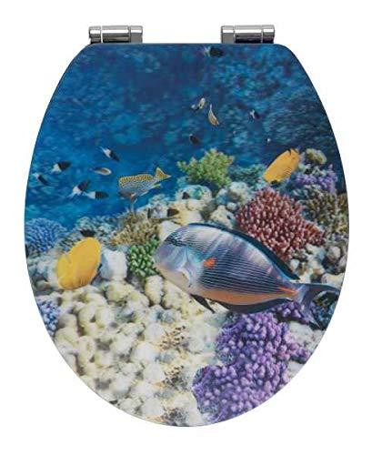 WENKO WC-Sitz Fish mit 3D-Effekt - Toiletten-Sitz mit Absenkautomatik, MDF, 38 x 44.5 cm, Mehrfarbig