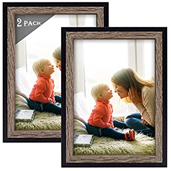 Golden State Art Set of 2 Multicolored Molding Picture Frame for Desk Display and Wall Display - Great for Baby Pictures Weddings Portraits  5x7 Black/Grey