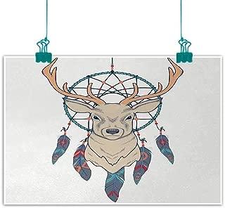 Unpremoon Deer,Bedroom Wall Decor Roe Deer with Native American Tribal Dreamcatcher Ethnic Folk Art Style Sketch W 36