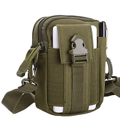 HoYiXi Bolsa de Cintura Multifuncional Riñonera Táctica Bolso de Cinturón con Bolsillo de Teléfono para Ciclismo Escalada Pesca Al Aire Libre Deporte Pequeñas Molle Militar Pouch - Negro