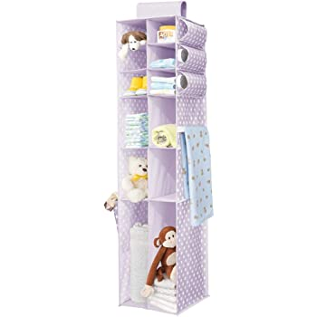 Wardrobe Organiser with 10 Compartments for the Bedroom and Nursery Hanging Shelves with Polka Dot Pattern Light Purple//White mDesign Hanging Wardrobe Storage