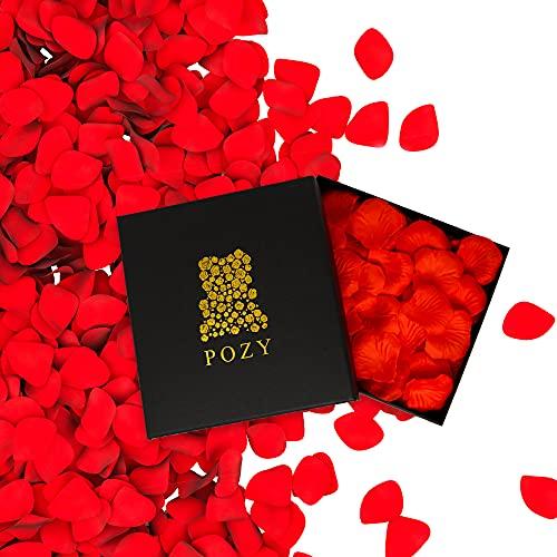 POZY Rosenblätter mit edler Aufbewahrungsbox [3.000 Stück] romantische Dekoration zur Hochzeit & Schlafzimmer - wunderschöne Rosenblüten als Jahrestag Geschenk für ihn - Fantastische Geburtstagsdeko