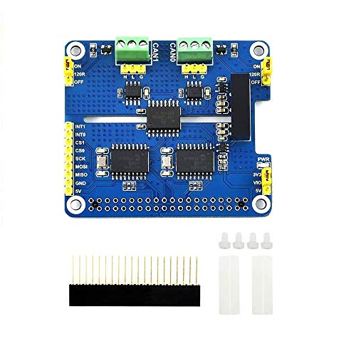 IBest Waveshare 2-CH Can Hat 2-Channel Isolated Can Bus Expansion Hat Board for Raspberry Pi 4B/3B+/3B/2B/Zero/Zero W,MCP2515 + SN65HVD230 Dual Chips Solution with Multi Onboard Protection Circuits