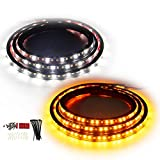 [2PCs 48 inch] Truck LED Running Board Lights Amber Turn Signal Lights Sequential Side Maker Lighting Kits with White Courtesy Flexible Step Strip Lights for Extended Crew Cab Trucks Pickup (48')