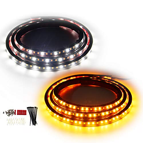 OPL5 2PCs 70 inch Truck LED Running Board Lights Sequential Amber Side Marker Lights Emergency Extended Crew Cab 216 LEDs Waterproof Flexible Turn Signal Light Bar for Pickup Trucks Cars SUV (70 inch)