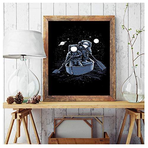 Preisvergleich Produktbild Wwjwf Modulare Bilder Druck Leinwand Malerei Astronaut Fahrrad Fisch Skater Galaxy Boot Nordic Style Wandkunst Poster Home Decoration-60X80Cm-Kein Rahmen A.