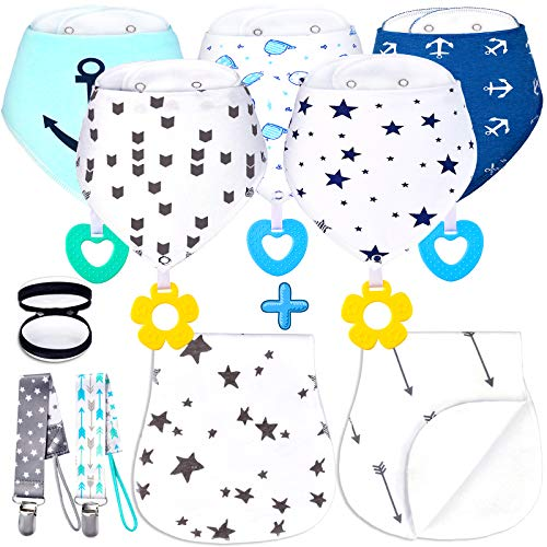 Baby Bandana Drool Bibs with Teething Toys, Ultra Absorbent Organic Cotton Baby Bibs and Burp Cloths, Unisex Infant Bibs for Baby boy and Girls with Pacifier Clips and Case, 10 Pack Baby Shower Gifts