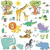 DECOWALL DW-1909 Animali della giungla felice Adesivi da Parete Decorazioni Parete Stickers Murali Soggiorno Asilo Nido Camera da Letto per Bambini
