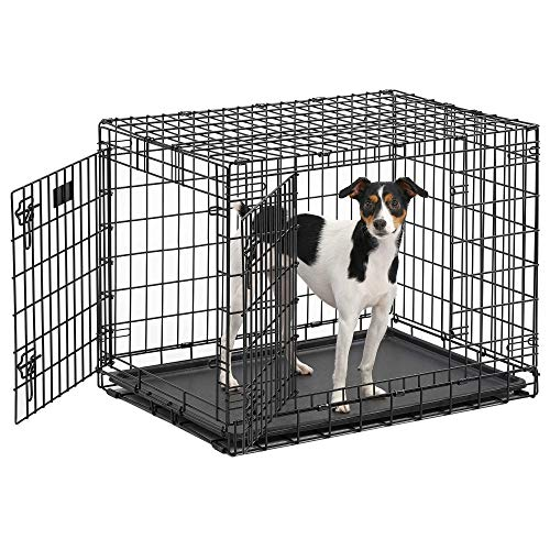 MidWest Ultima Pro Series 30' Dog Crate | Extra-Strong Double Door Folding Metal Dog Crate w/Divider Panel, Floor Protecting 'Roller Feet' & Leak-Proof Plastic Pan