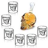 MVPOWER Verres à Whisky Design Tete de Mort 350ML en Verre Cristal Transparent, Carafe Avec 6 Verres à Cocktail Vodka en Forme de Crâne de Mort, Idéal Comme Cadeau, Décoration Halloween